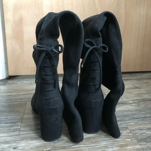 Aldo black thigh high booties